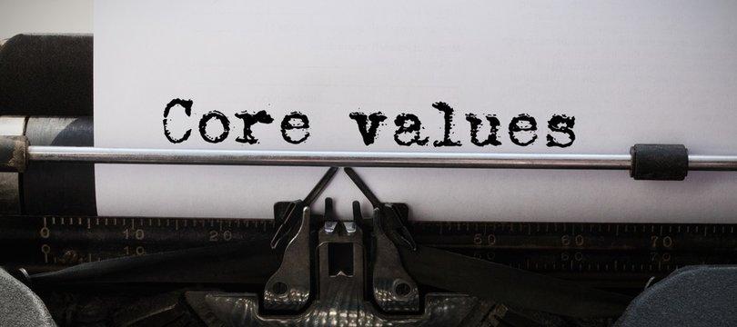 Composite image of core values message