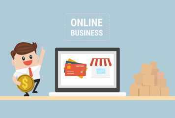 Online business. E-Business. Flat design