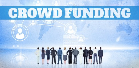 Composite image of the word crowdfunding against white backgroun