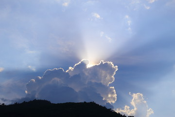 Light shining through the clouds