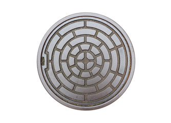 Circle steel manhole cover or drain lid isolated on white backgr
