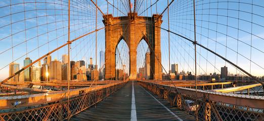 Brooklyn bridge panorama in New York, Lower Manhattan