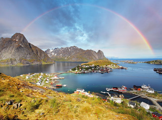 Wall Mural -  Reine by fjord on Lofoten islands in Norway