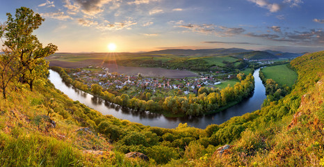 Wall Mural - Spring Slovakia panorama landscape with river Hron.