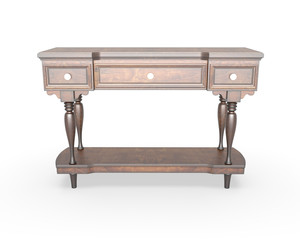 3d rendering antique dresser isolated on white background