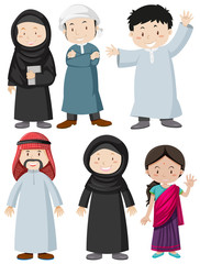 Muslim man and woman with happy face