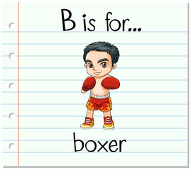 Flashcard letter B is for boxer
