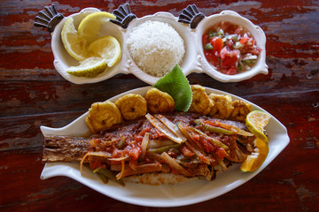 tropical seafood cuisine from nicaragua