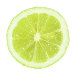 A slice of lime on a white background