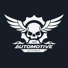 Dark Rider logo. Automotive logo, helmet logo, skull logo design. vertor logo template.