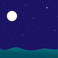 Night seascape, vector illustration