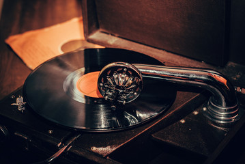 Gramophone player close up