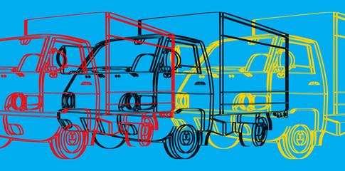Pop art, silhouette d'un camion