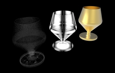 Steps for creating a three-dimensional object.The sketch and the finished object.Glass.Design and creation.Design and print 3D printer