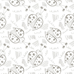 Seamless vector pattern with insects. Cute hand drawn background with ladybugs and scribble on the white backdrop. Series of Cartoon, Doodle, Sketch Seamless Patterns.
