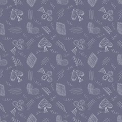 Seamless vector pattern with icons of playing cards and scribble on the blue background. Series of Gamin, Gambling and Cartoon, Doodle, Sketch Seamless Patterns.