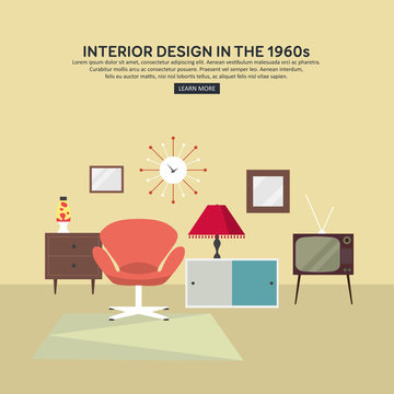 Retro interior living room with cabinet, TV, armchair, lava lamp, retro clock. Flat design. Vector illustration.