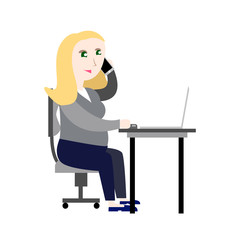 Pregnant girl in the office vector illustration