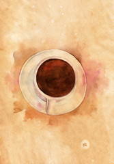 Watercolor cup of coffee on old paper texture