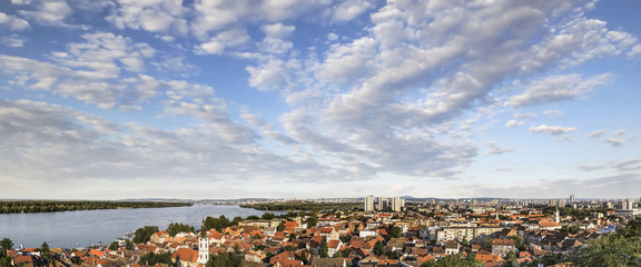 Panoramic View of Zemun Town with River Danube and Belgrade Metropolis Skyline.