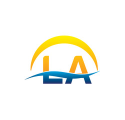 la initial logo with waving swoosh