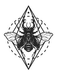 Beetle deer and geometric elements.