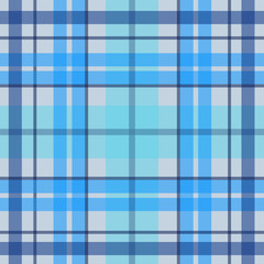 Vector seamless scottish tartan pattern in blue, navy, white. British or irish celtic design for textile, fabric or for wrapping, backgrounds, wallpaper, websites