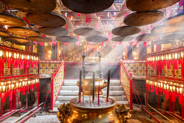 Interior of  Temple in Hong Kong