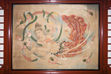 The painting on the ceiling of Senso-ji temple