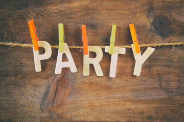 The word PARTY made from wooden letters