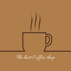 A cup of coffee with steam with the best coffee shop inscription, in outlines, over a brown background, digital vector image