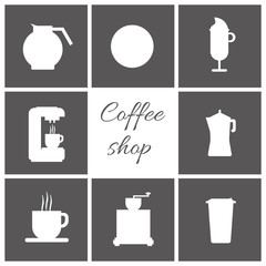 A set of white coffee items, cup of coffee with steam, coffee machine, mill, glass, jug, jar, with coffee shop inscription, in outlines, over a silver background, digital vector image