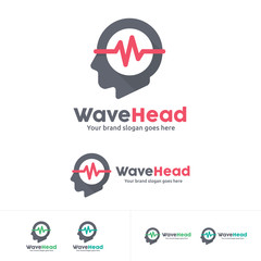 Wave Head Music Studio Logo, Music instrument Logo, Head phone Logo
