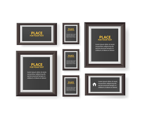 paper design with text and shadow.Big set of picture frames isolated on white background.
