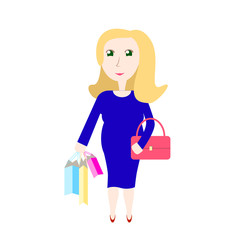 Pregnant woman shopping vector illustration