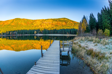 Natural lake inside vulcano, Carpathian Mountains, Romania