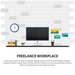 Freelance workplace. Minimalist workplace