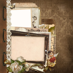 Old vintage background with lace, old documents, money, photo frames, angel