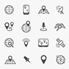 Location and navigation black line icons. Vector illustration