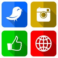 social media colored flat design icons set