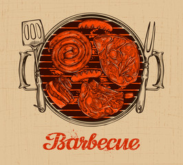 BBQ party. Barbecue vector template of menu design restaurant, cafe