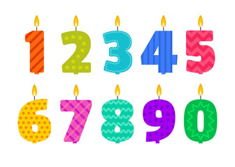 Vector flat design birthday candle set in the shape of all numbers. Burning colorful candles with different festive patterns in flat style. For anniversary party invitation, cards design, decoration.