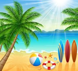 Tropical beach with bright sun