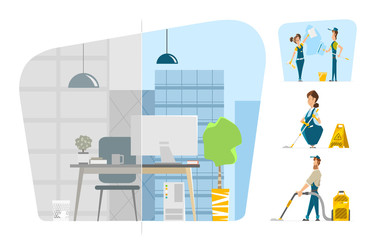 Professional office cleaning service Vector character illustration set