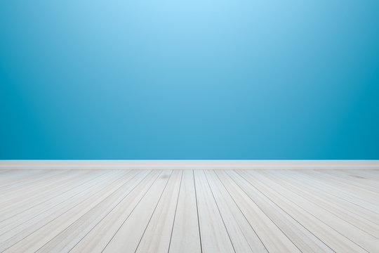 Empty interior light blue room white white shelf and wooden floo