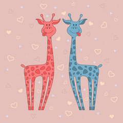 Vector  illustration of two giraffes on pink background with hearts