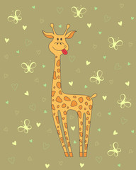 Vector  illustration of giraffe on background with hearts and butterflies
