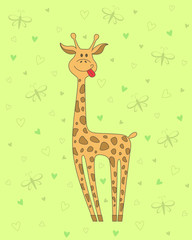 Vector  illustration of giraffe on green background with hearts and butterflies