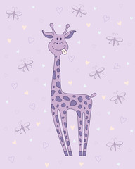 Vector  illustration of giraffe on violet background with hearts and butterflies