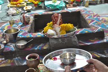 Men Doing Pray Of Lord Ganesha